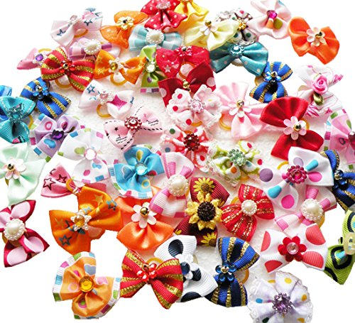 Rimobul Yorkie Pet Hair Bows Rubber Bands - Pack of 50 (Yorkie Puppies)
