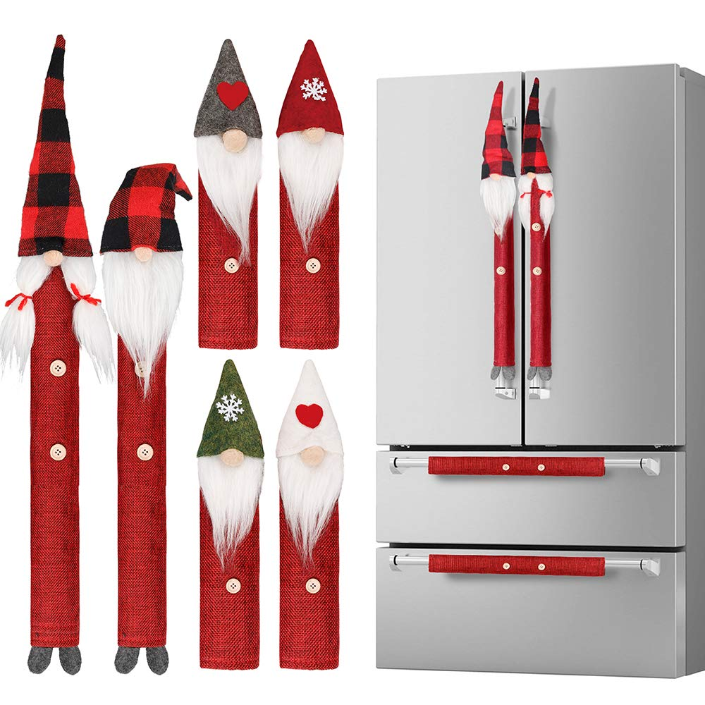 D-FantiX Swedish Tomte Refrigerator Handle Covers Set of 8, Adorable Gnome Kitchen Appliance Covers Microwave Oven Dishwasher Fridge Door Handle Covers Protector Christmas Decorations