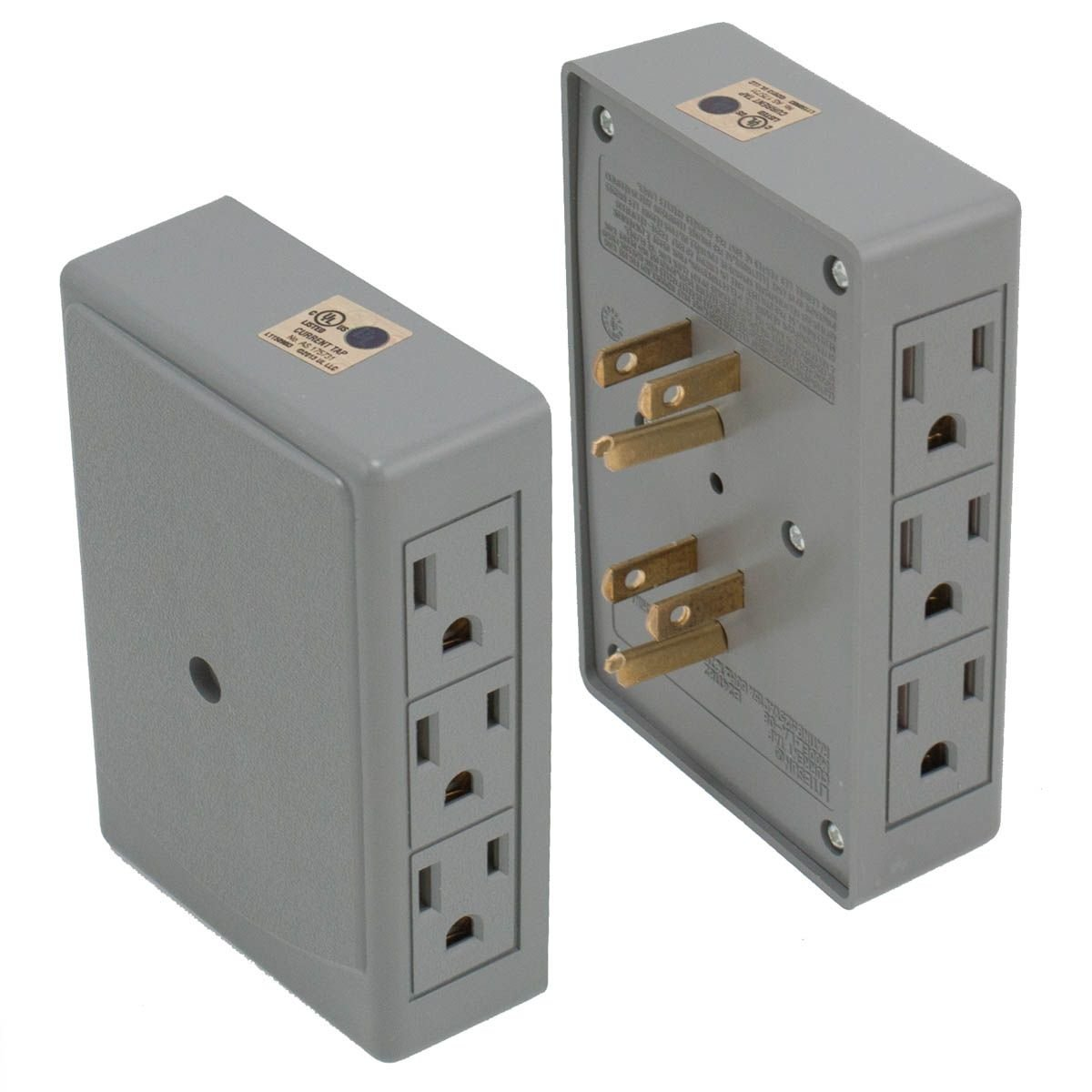 2 Side Entry 6 Way Electrical Socket Outlet Splitter In Wall Tap Wiring Canada Adapter Grey Electronics