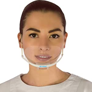 1 Box(5 Masks+1 Pouch) Masklean Clear Transparent Sanitary Mask Anti-Fog Face Mouth Shield Spit Guard Reusable Permanent makeup microblading catering