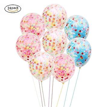 Nicetop 24 piezas confeti globos, globos de látex 12 ...