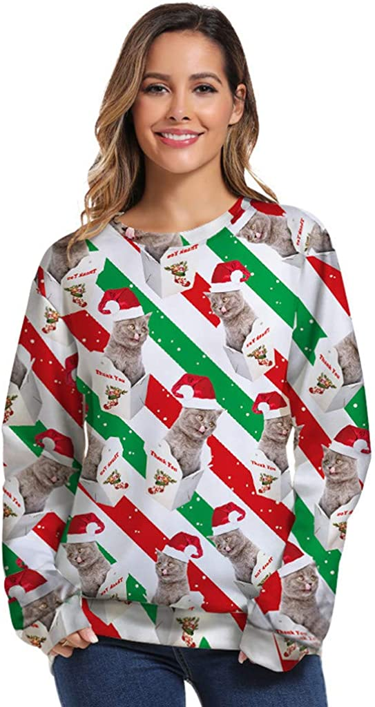 Fanteecy Unisex Ugly Christmas Crewneck Sweatshirt Novelty 3D Cat Graphic Long Sleeve Sweater Shirt Funny Pullover Jumper