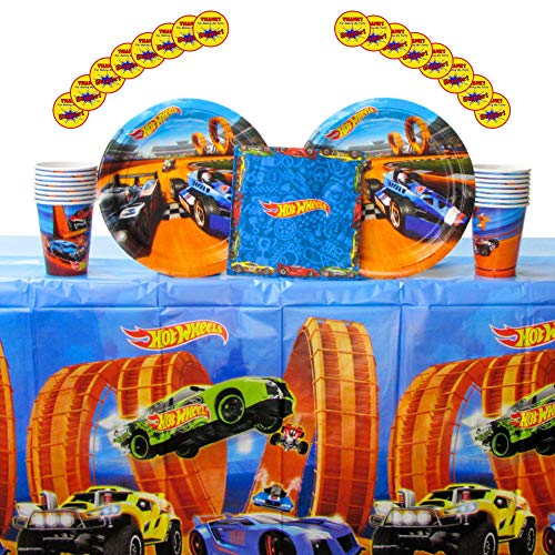 Hot Wheels Wild Racer Party Supplies Pack for 16 Guests - Stickers, Lunch Plates, Luncheon Napkins, Cups, and Table Cover -