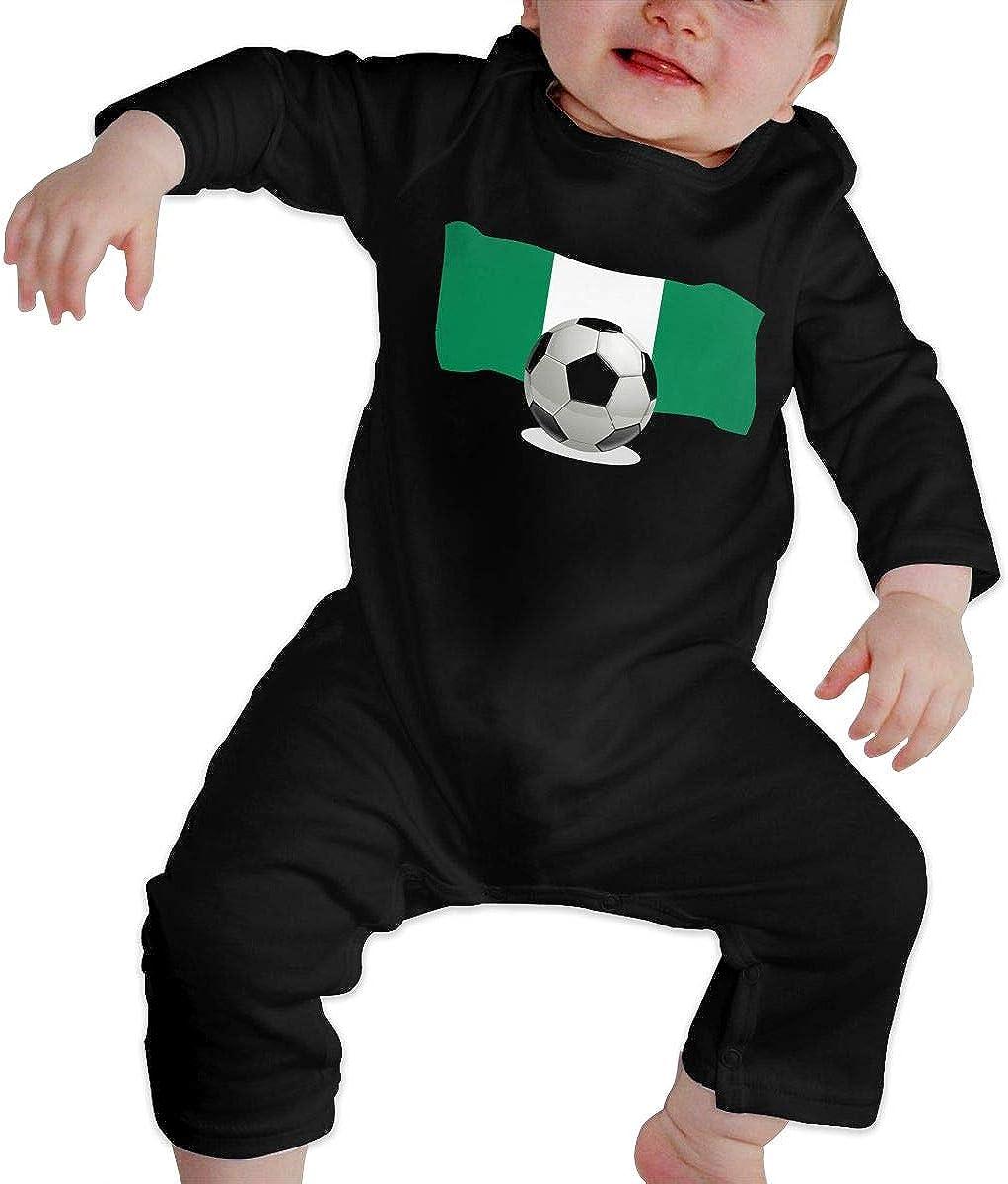 Soccer Ball with Nigeria Flag Newborn Infant Jumpsuit One Piece Kids Pajamas