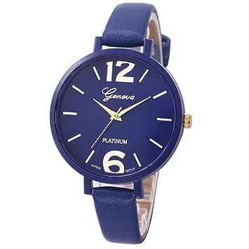 Xinantime Relojes Pulsera Mujer,Xinan Ginebra Imitación Cuero de Cuarzo Analógico Relojes (Azul Oscuro): Amazon.es: Relojes