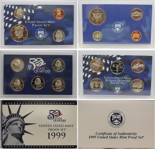 1999 S US Mint Proof Set Original Government - Proof Nickels Jefferson Including