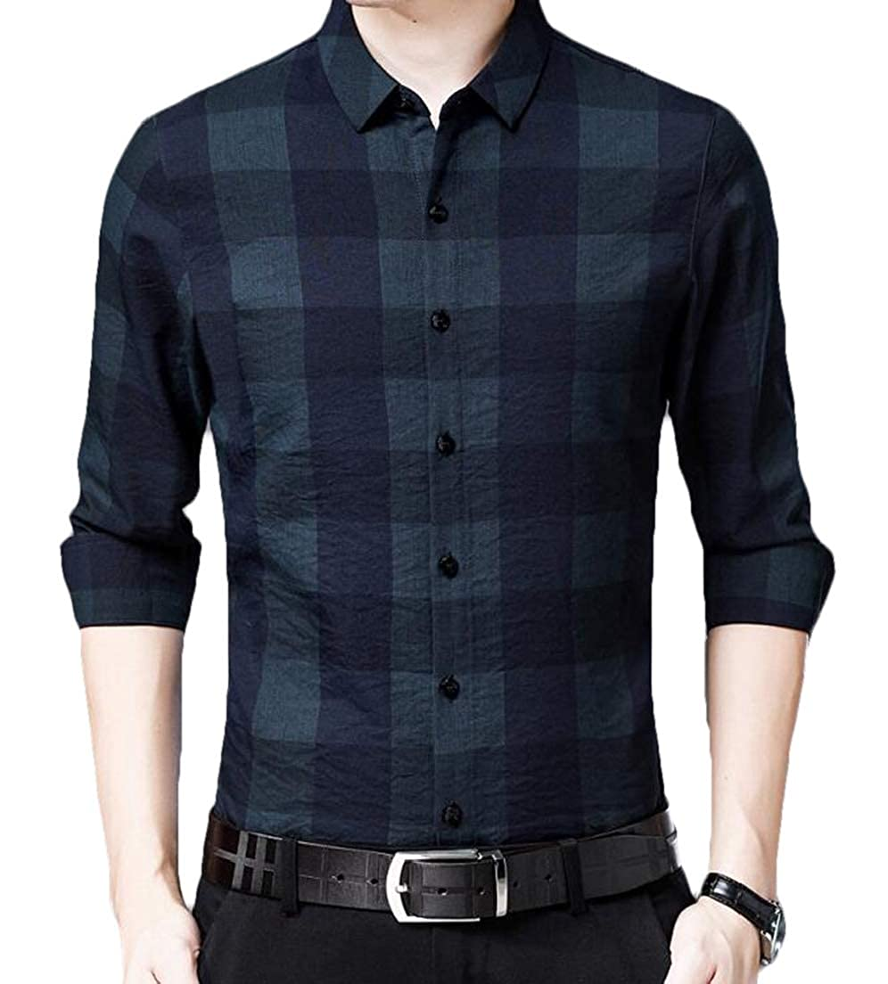 CRYYU Men Junior Spring Stylish Checkered Long Sleeve Button up Dress Shirts