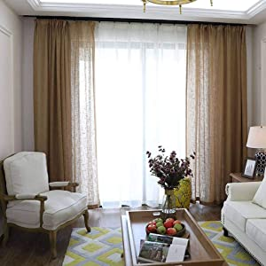 ILMF Semi-Sheer Curtain, Linen Voile Window Cozy Breathable Light Blocking Room Drapes Antique Decoration Drapery Great for Balcony Bedroom Patio-250x270cm(98x106inch)-Brown 1 Panel