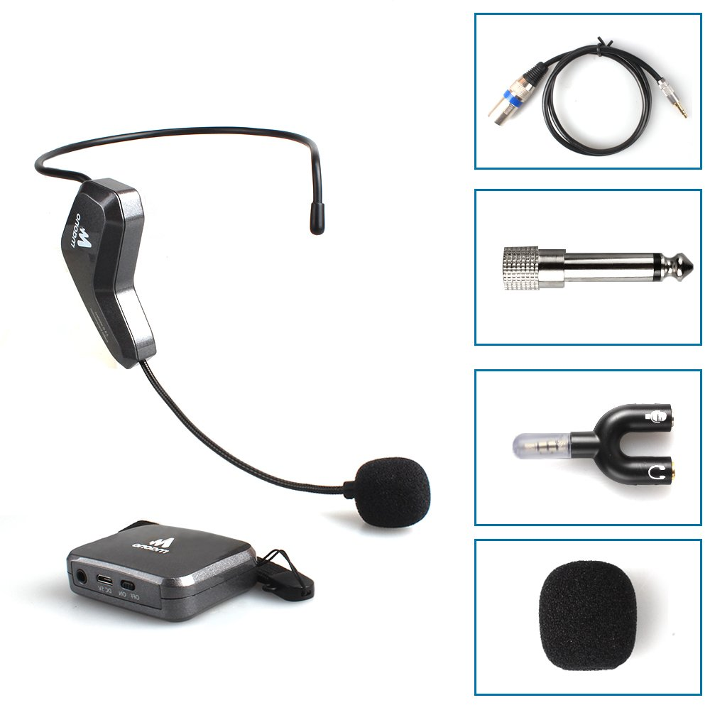 Professional MAONO-C02 2.4G Wireless Headset Microphone, Hands Free Lightweight Headworn Mic or Handheld Vocal Mic for YouTuBe, Recording, Speech, Mixer, PA system(black)