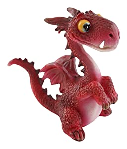 Top Collection Miniature Fairy Garden and Terrarium Mini Dragon Statue, Red