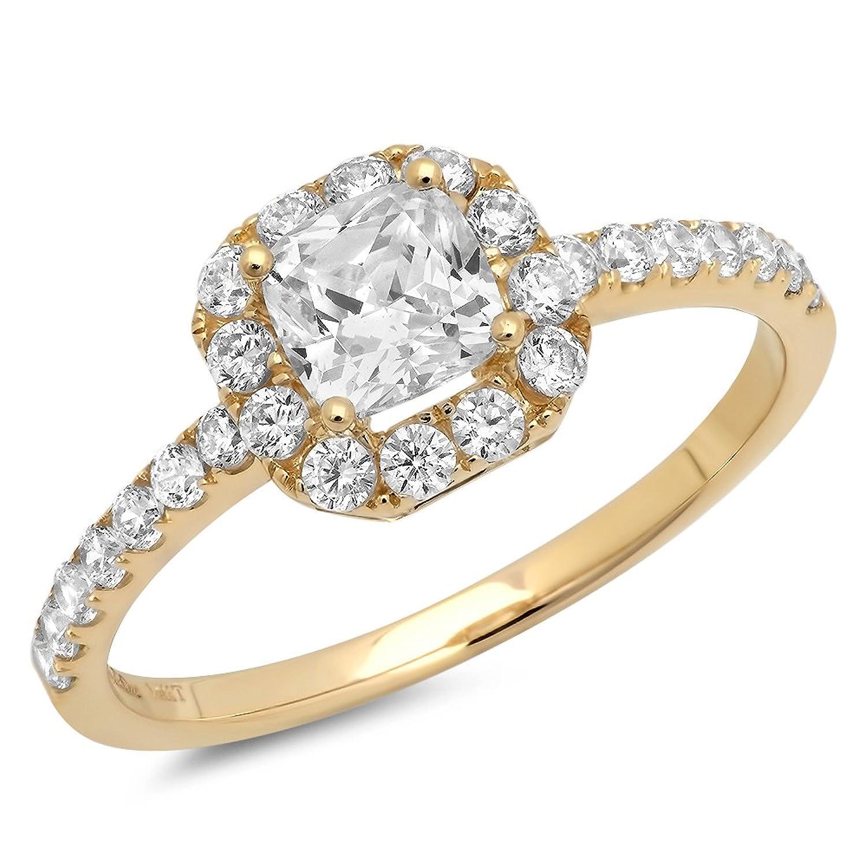 Clara Pucci's Princess Cut Simulated Diamond CZ 14k Yellow Gold Pave Halo Ring Band, 1.3CT