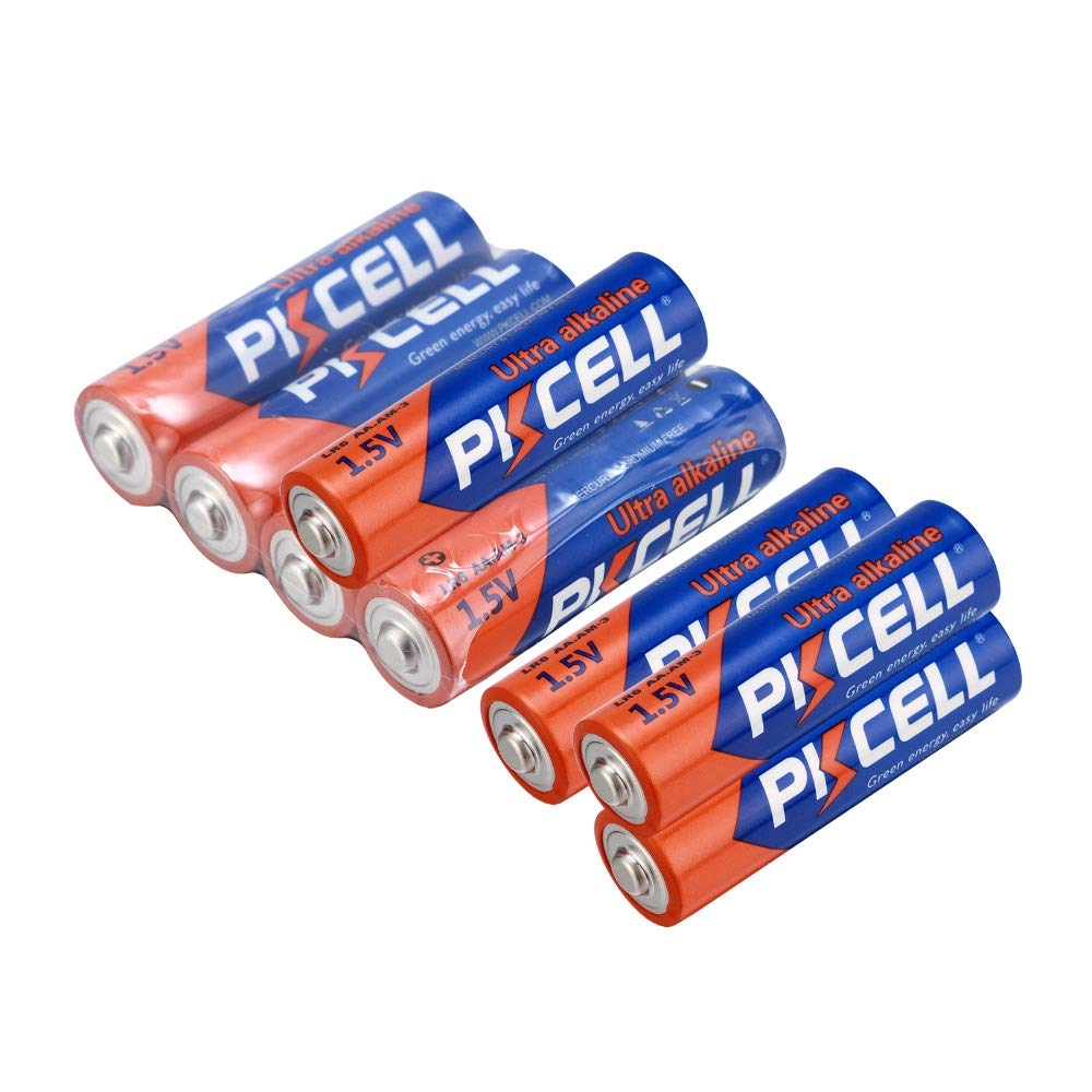 AA Alkaline Dry Battery LR6 LR06 E91 AM3 MN1500 1.5V (8pcs, LR6) PKCELL