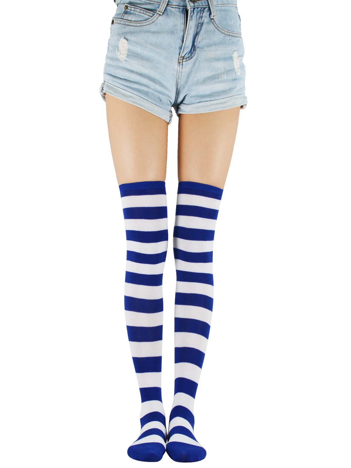 d6265dbd0bd Galleon - Over Knee Long Tube Socks Casual Striped Thigh High Tights  Athletic Stockings Stretchy One Pair Skirt Sock For Women Girls Navy White  Wide Stripe