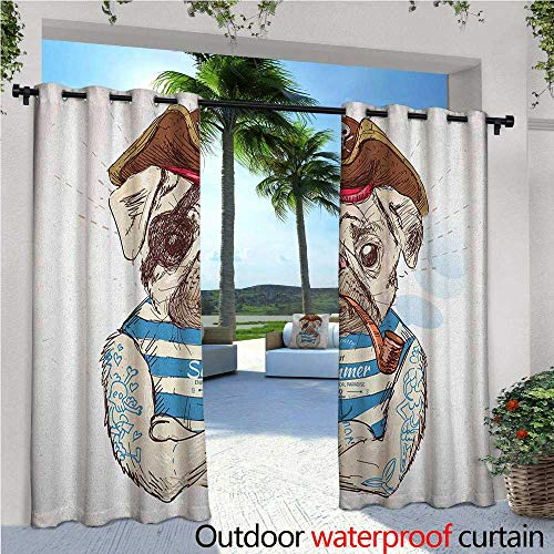 familytaste Pug Outdoor Blackout Curtains Pirate Pug Conqueror of The Seas Pipe Skulls and Bones Hat Striped Sleeveless T-Shirt Outdoor Privacy Porch Curtains W72 x L84 Brown Blue ()