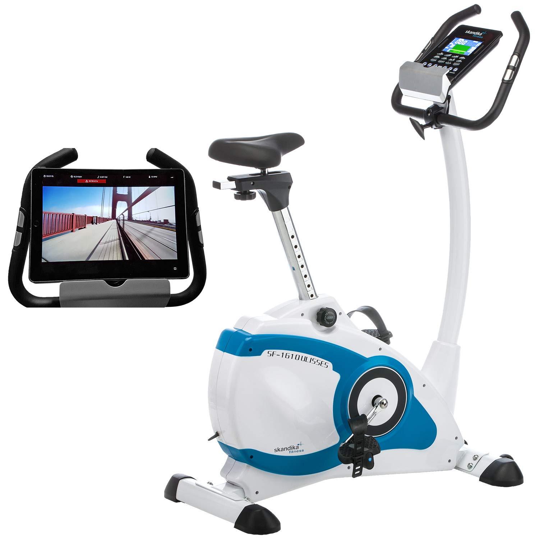 Skandika Ergometer Ulisses SF-1610 mit App Steuerung und iConsole Trainingskontrolle, Körperfettmessung, 10 kg Schwungmasse, 32-stufige elektronische Widerstandseinstellung, weiß/blau