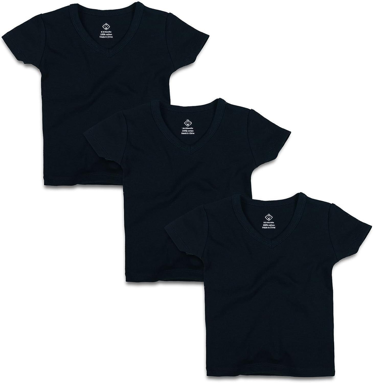 OPAWO Infant Baby Short Sleeve V Neck T-Shirts for Unisex Boy Girl 3 Pack
