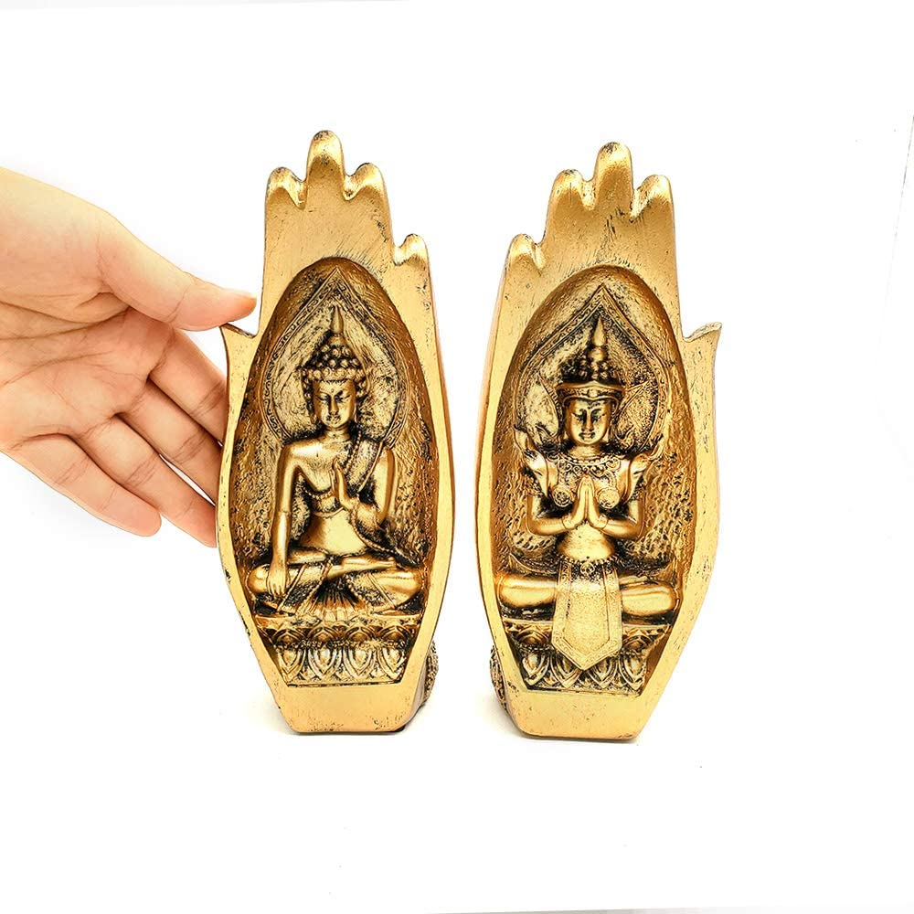 Nice purchase Buddha Sitting in Hand Statue Resin Buddhist Figurines Sculpture Home Decor Gifts (Gold)