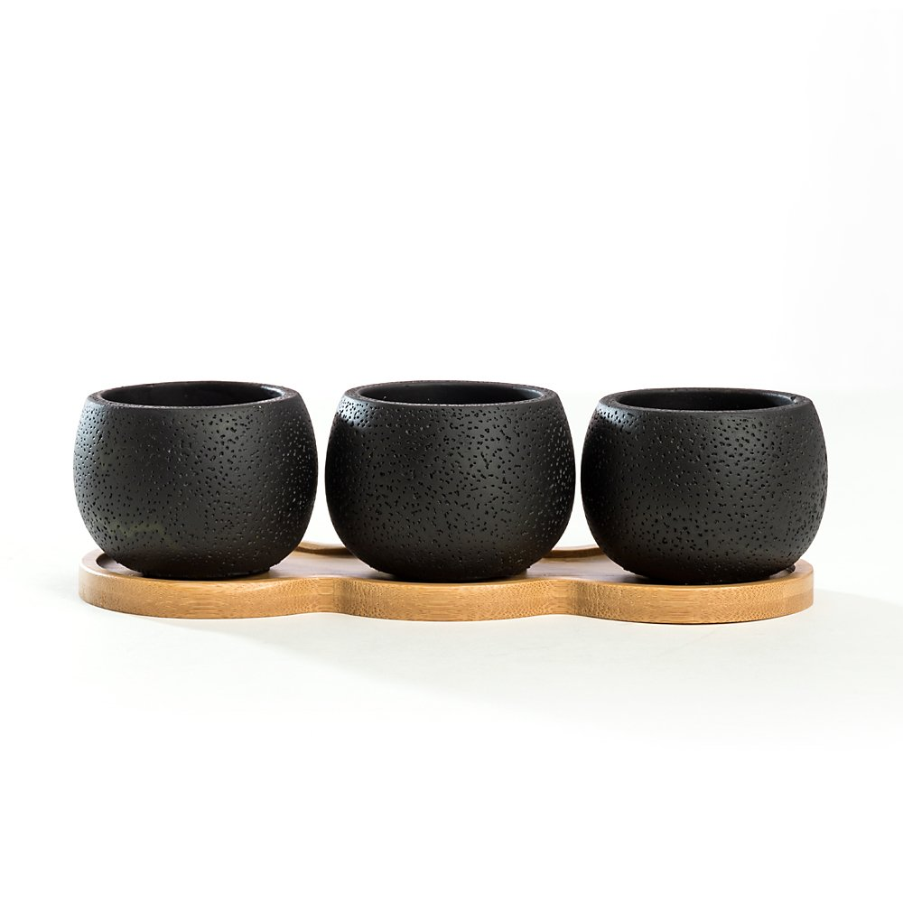 Nattol 2.75 Inch Black Cement Planter Pots, Mini Cactus Planter/Succulent Black Pot/with a Removable Bamboo Saucer Tray, Set of 3 (Black)