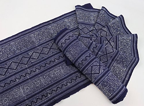 Hmong Traditional batik fabric, cotton fabric, handmae fabric for bed runner, table runner, home decoration, Craft Supply (Hand Batik Cotton Table Runner)