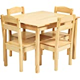 Costzon Kids Wooden Table and 4 Chair Set, 5 Pieces Set Includes 4 Chairs and 1 Activity Table, Toddler Table for 3-7…