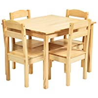Costzon Kids Wooden Table and 4 Chair Set, 5 Pieces Set Includes 4 Chairs and 1 Activity Table, Toddler Table for 3-7 Years, Playroom Furniture, Picnic Table w/Chairs, Dining Table Set (Natural)