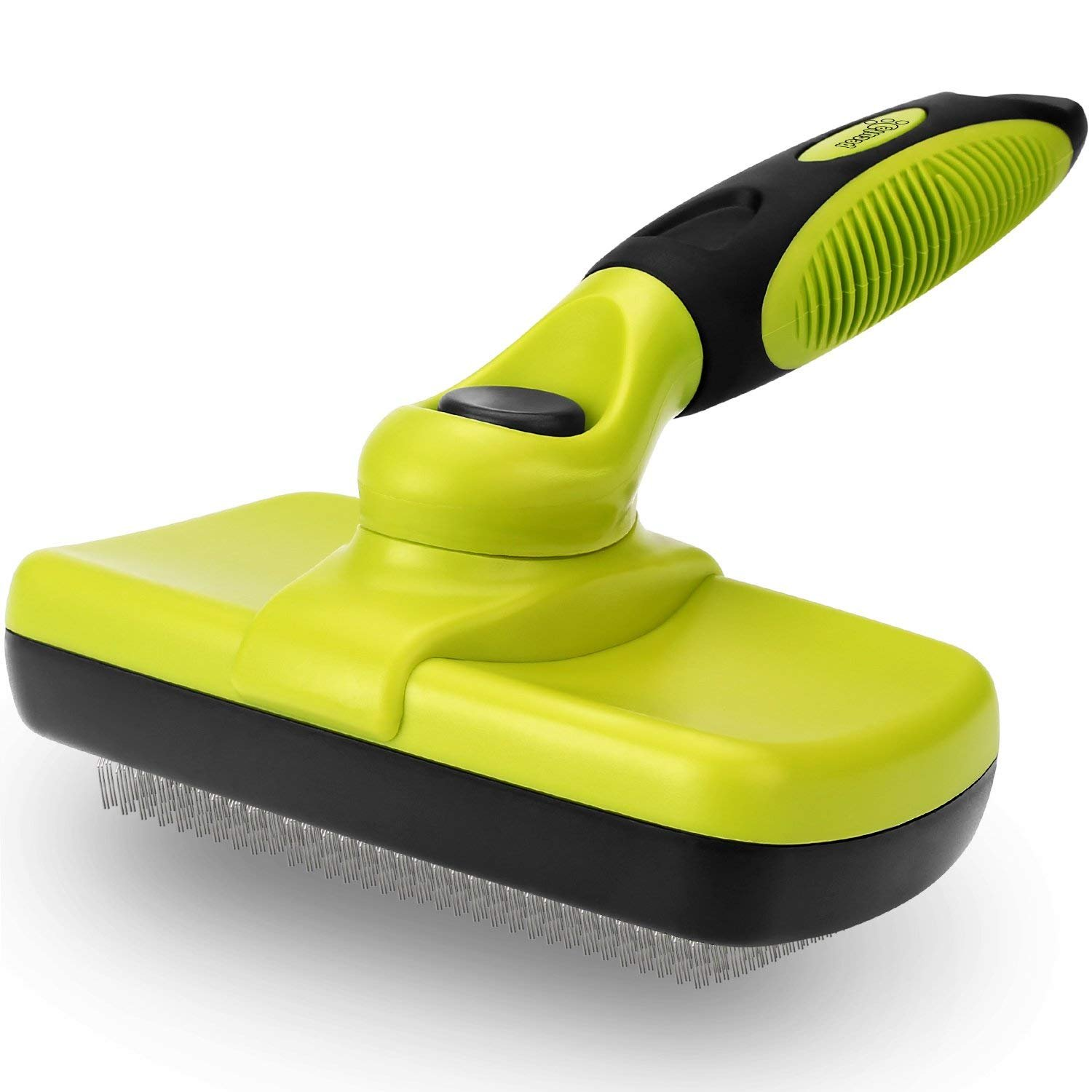 Dog Brush Cat Pet Grooming Brush Comb Self Cleaning Slicker Brush Reduces Shedding Up to 90% Removes Tangles De Sheds for Long Medium & Thick Hair Pet Green and Black by Pecute (Image #1)