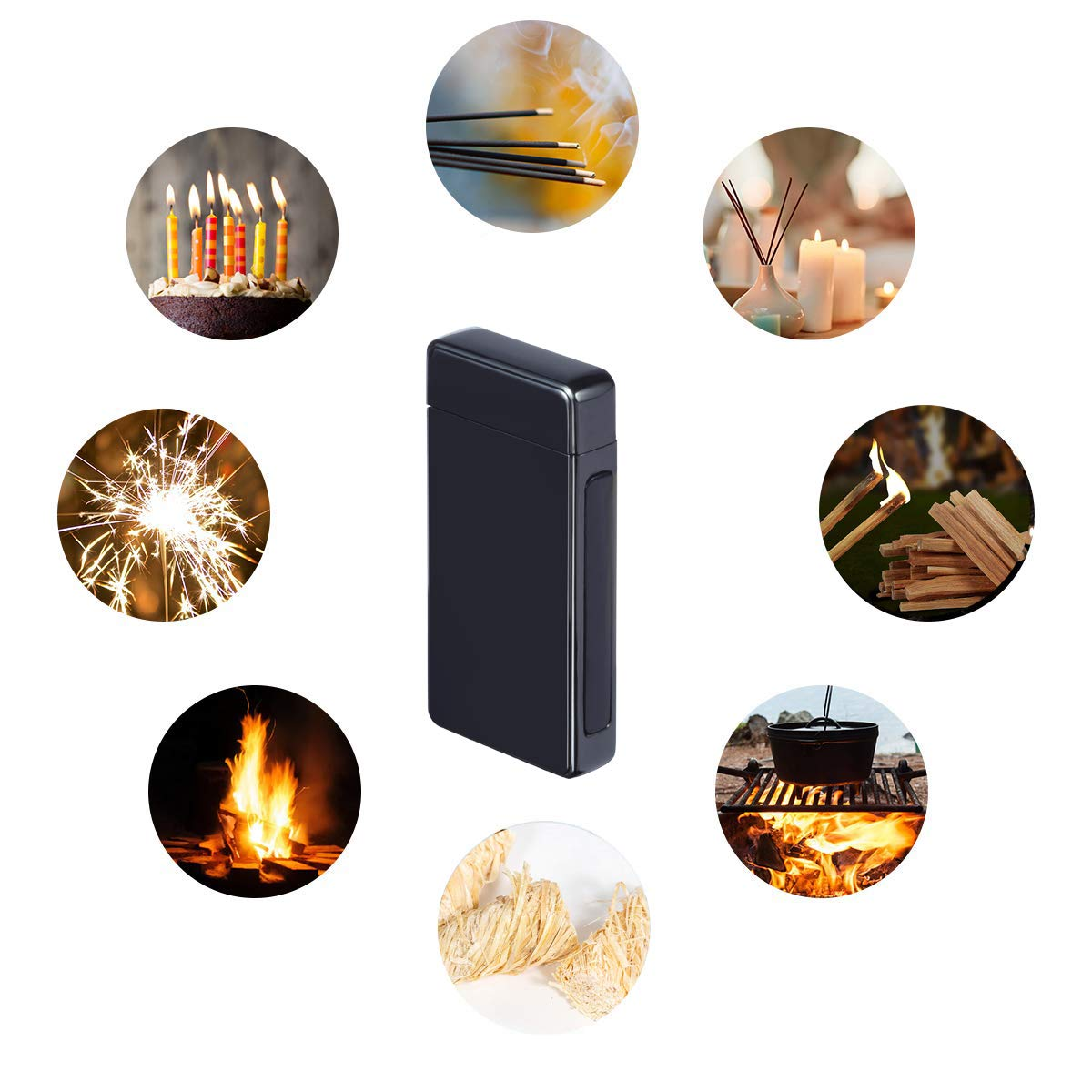 Lighter, Electric Plasma Arc Lighter Windproof USB Rechargeable Coil Lighter Magic Smart Cool Lighter for Candles,Camping, Fire Starter, Hunting, Backpacking,Hiking,EDCgear