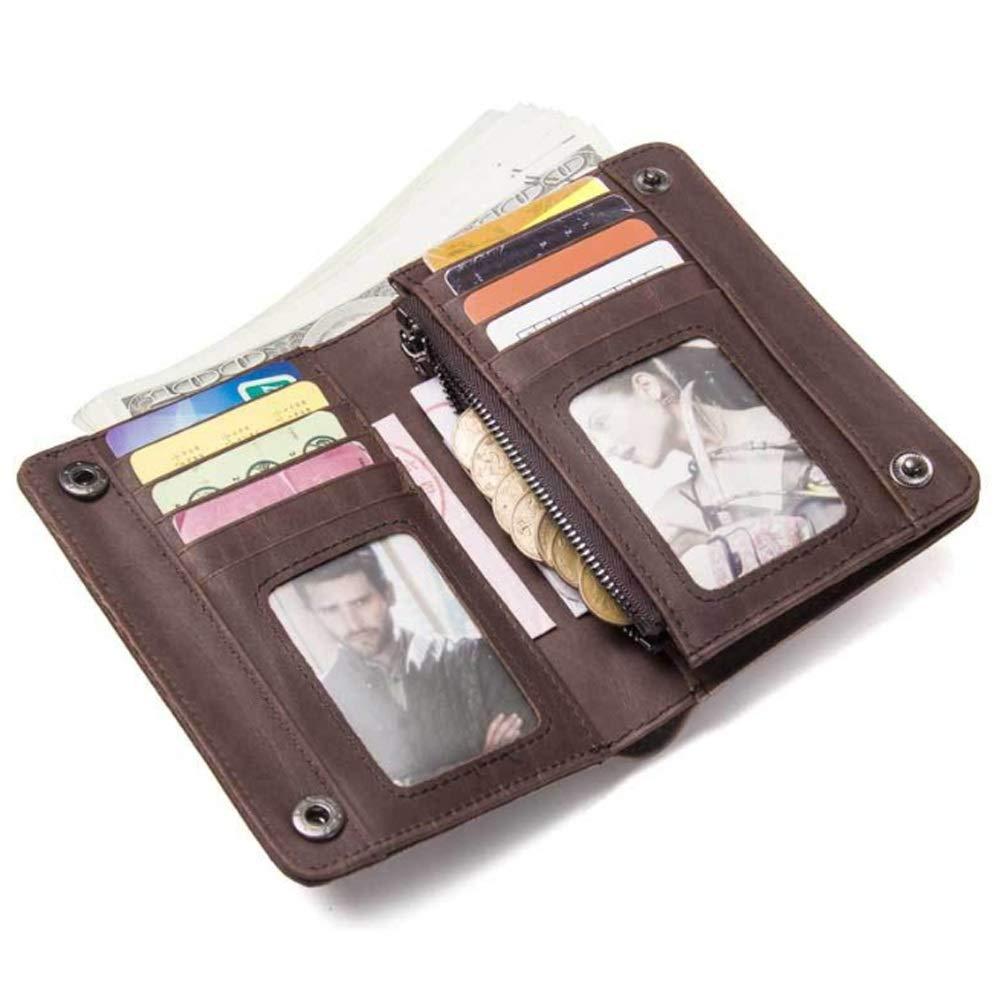 Color : Brown, Size : S Ruanyi Wallet Retro Leather Multi-Function Clutch Bag Fashion Crazy Cowboy Bag for Men