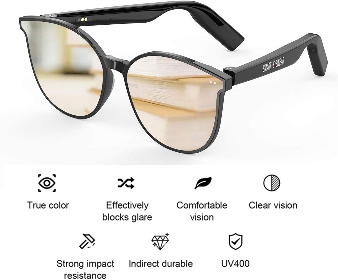 Bluetooth Audio Glasses with Noise Cancelling Mic,Wireless Bluetooth Audio Sunglasses Open Ear Headset Music/&Hand for All Smart Device
