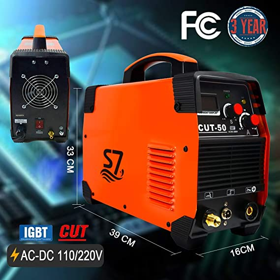 Plasma Cutter, 50A Inverter AC-DC IGBT Dual Voltage (110/220V) Cut50 Portable Cutting Welding Machine With Intelligent Digital Display With Free Accessories ...