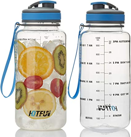 BPA Free Water Bottle with Motivational Time Marker Reminder Leak-Proof 1L Drinking Bottle Tritan Sports Bottle for Camping Workouts Gym and Outdoor Activity HOTFUN 32oz Water Bottle