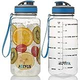 HotFun 32oz Water Bottle, BPA Free Water Bottle with Motivational Time Marker Reminder Leak-Proof 1L Drinking Bottle Tritan S