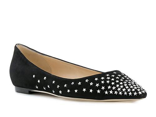 d0ec15f2926f JIMMY CHOO Women s Black Chamois Leather Ballerina - Moccasin Shoes - Size   6.5 US