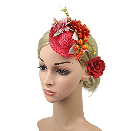3d995ddbcf065 Image Unavailable. Image not available for. Color  Fascinators Flower Hair  Clip Hat Pillbox Hat Lace Veil Wedding Party Hat (Red)