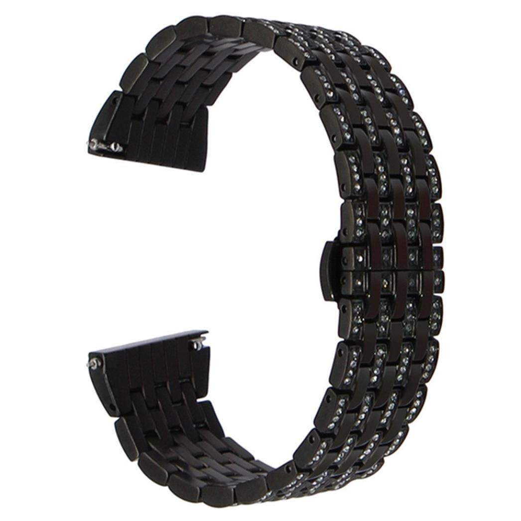 海山SevenパールベルトドリルステンレスSteelstrap Watch Band for Huawei Watch 2  ブラック B079HSRP6P