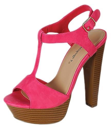3b53446852b Breckelle s Women s Betsey-41 Buckle Ankle Strap Stacked Wooden Platform  Heel Sandals
