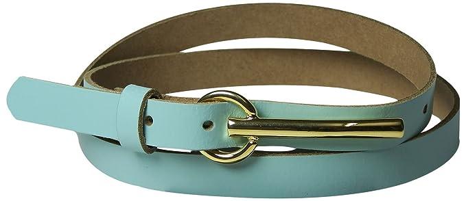 Fronhofer Fine ceinture pour femme 1,5 cm, ceinture avec une longue boucle  dorée 50416cbd50e