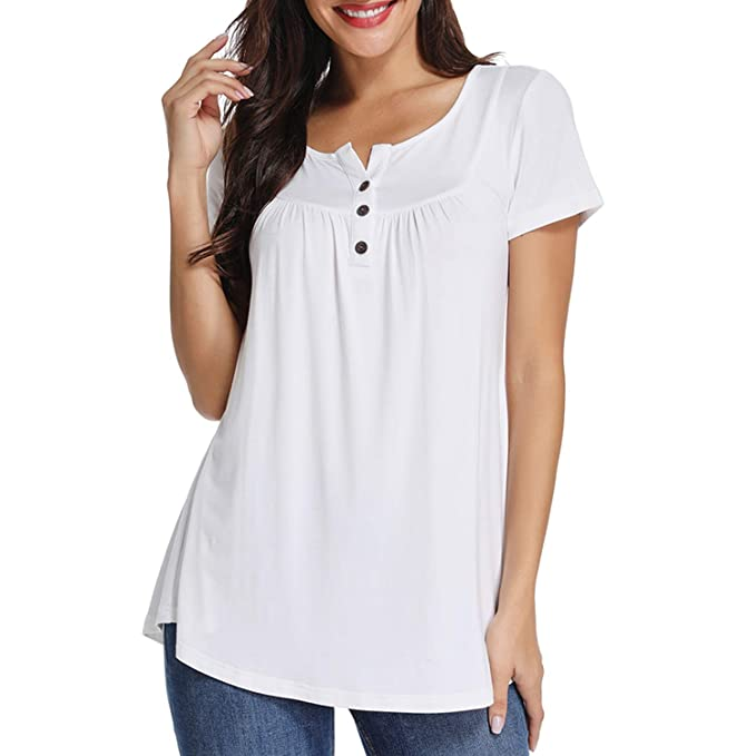 eef2660ea7f4a6 Xpenyo Women Short Sleeve Tops Henley Shirts V Neck Blouse Button Up Tunic  Casual Tops  Amazon.co.uk  Clothing