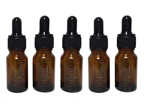 Botella de vidrio ámbar de 10 ml vacía recargable graduada para aceites esenciales de vidrio y