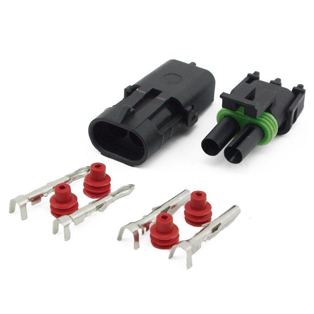 HIFROM 15 Kit of 2 Pin Way Waterproof Electrical Connector 1.5mm Series Terminals Heat Shrink Quick Locking Wire Harness Sockets 20-14 AWG