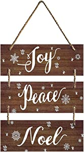 MAIYUAN Hanging Signs Decoration Winter Large Vintage Vertical Wooden Decor Signs with Rope Joy Peace Noel Wall Decor for Farmhouse Classroom Office Decoration