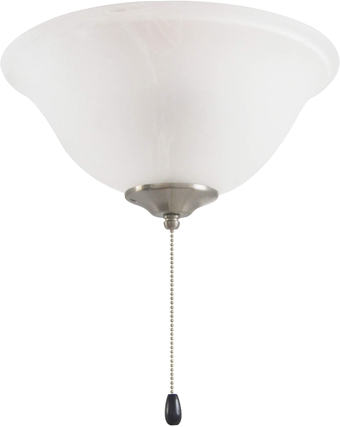 Design House 156505 Ceiling Fan LED Kit 3-Light Bowl with Pull Chain, Satin Nickel