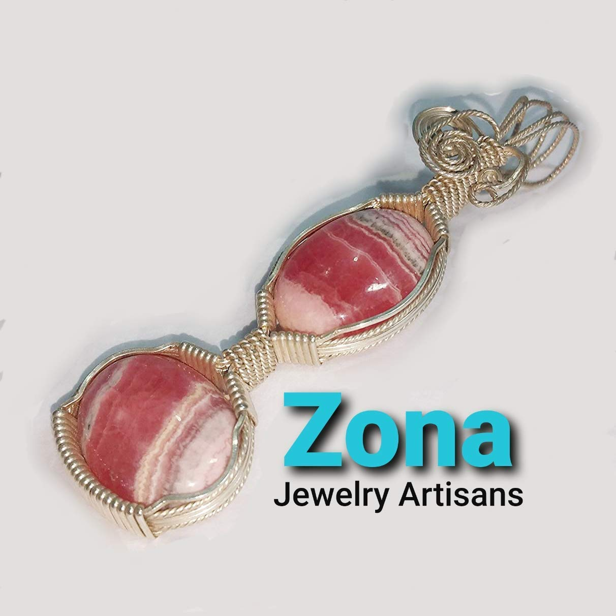 Rhodochrosite /& Sterling Silver Wire-Wrapped Pendant