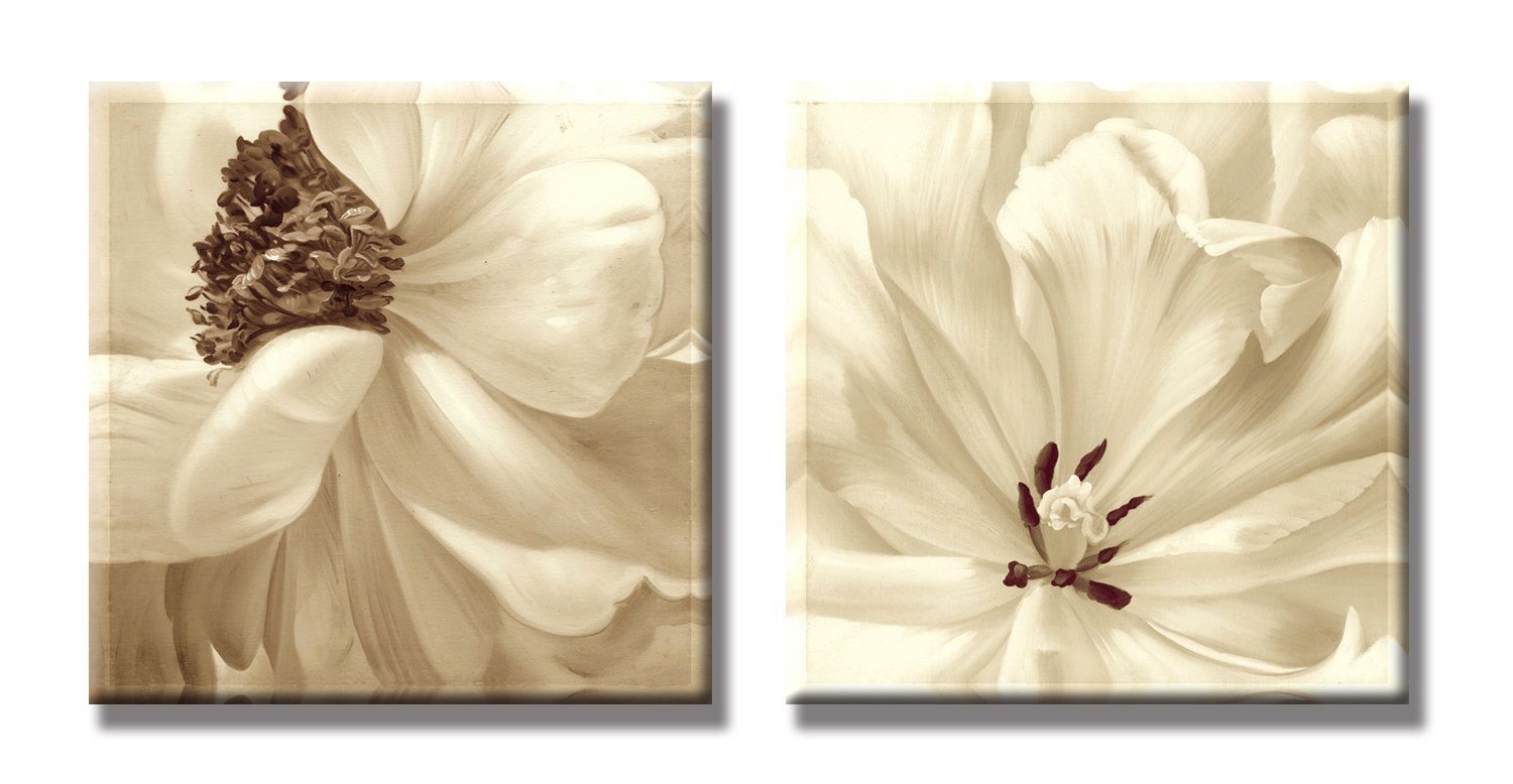 SEVEN WALL ARTS - 2 Piece Modern Floral Giclee Canvas Prints Artwork Contemporary Flowers Giclee Print Artwork for Home Decoration 24 x 24 Inch x 2 Pcs
