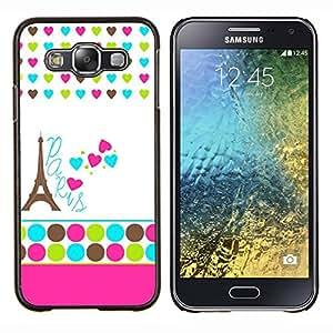 Stuss Case / Funda Carcasa protectora - Lunares blancos Corazón Francia Eifel - Samsung Galaxy E5 E500