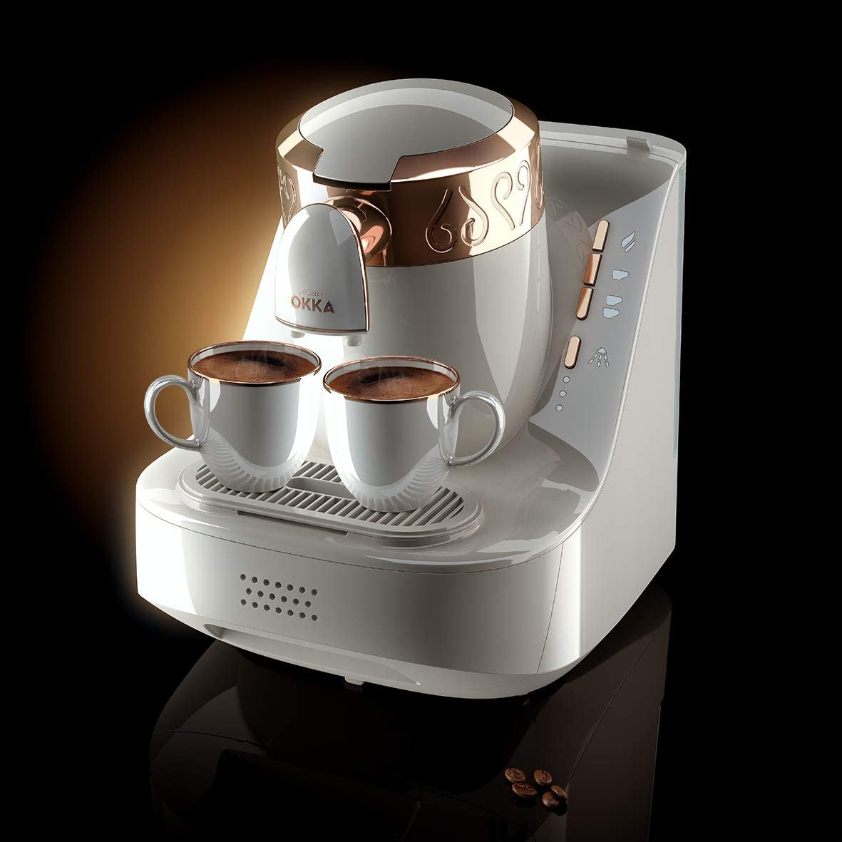 Arzum Okka OK001W 120V Turkish/Greek Coffee Machine, White/Copper (Gold)