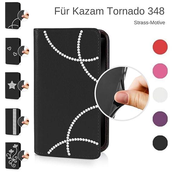 eSPee Handyhülle für Kazam ? Tornado 348 ? – unzerbrechliche Schutzhülle – aus Silikon mit Strass Bögen – unsichtbarer Magnet