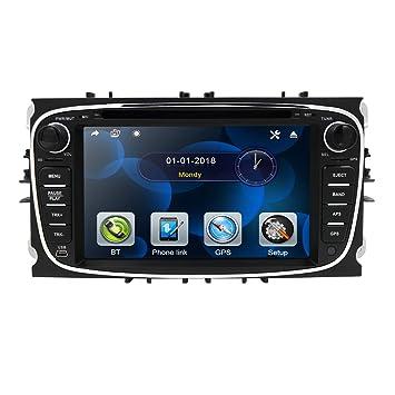 hizpo 7 Pulgadas Doble DIN Radio Coche Reproductor de DVD Soporte estéreo Navegación GPS Control del Volante Bluetooth SD USB Dab + para Ford Focus ...