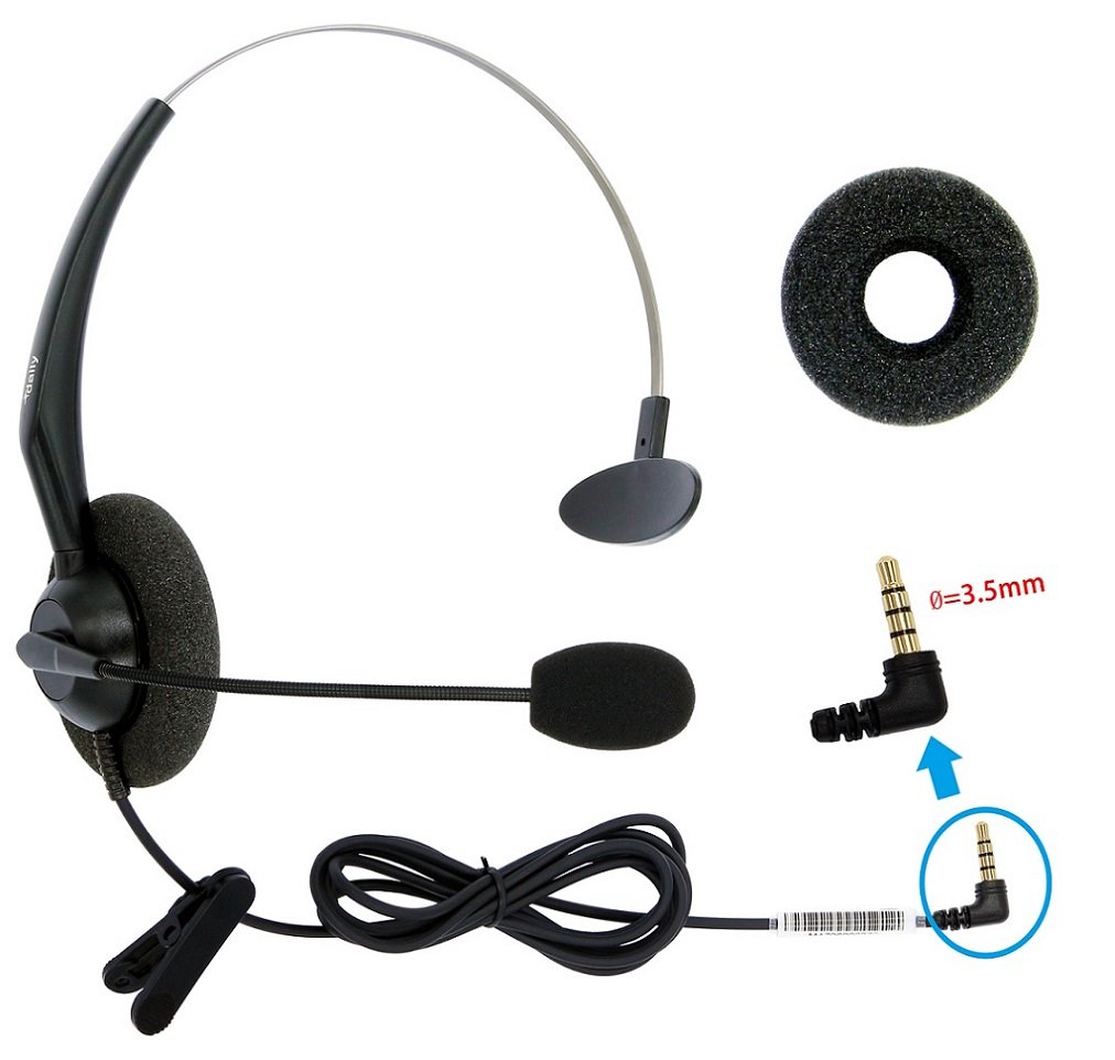 DailyHeadset 3.5 mm Jack Hands Free Cell Phone Headset On Ear Headphones for iPhone iPad MacBook Tablets Smartphones & Android System Phones