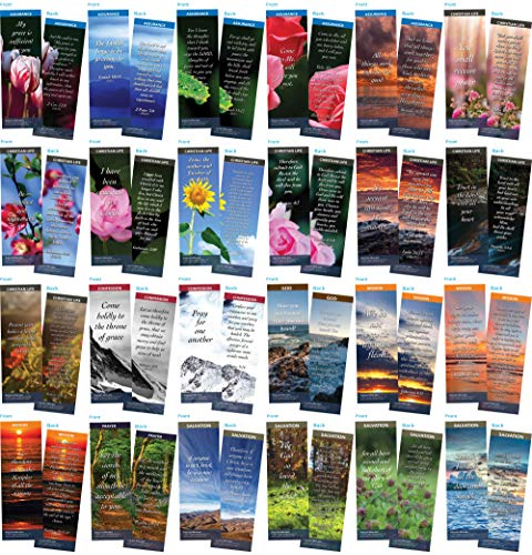 Bookmark Scripture Cards - Pack of 100 Variety Bible Memory Verse Cards   Popular, Encouraging Verses with Full Color Graphics   Useful Handouts for Faith Building, Sunday School, or Daily Life ()